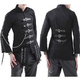 Men Dead Threads Jacket Gothic Black Corseting Chain Cyber Jacket
