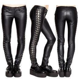 Women Tripp Leather Pant Black Vegi Faux Leather Gothic Pant Lace Up Sexy J