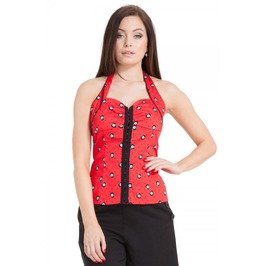 Voodoo Vixen Carrie Eight Ball Haulter Neck Top