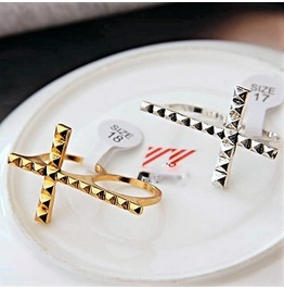 Fashion Punk Rock Retro Vintage Double Finger Metal Cross Knuckle Rings