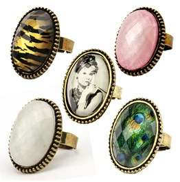 Antique Bronze Vintage Retro Oval Gemstone Finger Cocktail Adjustable Ring