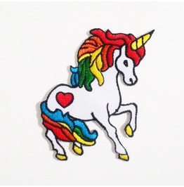 Rainbow Unicorn Embroidered Iron On Patch.