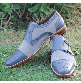 Handmade Men Formal Monk Shoes, Men Shoes, Men Leather And Suede Shoes