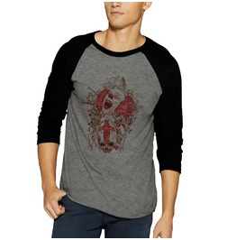 Freak Scary Clown Skull Head Raglan Baseball 3/4 Sleeve Shirt Tee Death