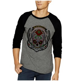 Sugar Skull Head La Muerte The Death Raglan Baseball 3/4 Sleeve Shirt Tee