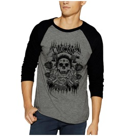Skull Death Lucky Bones Raglan Baseball 3/4 Sleeve Shirt Tee Gothic Emo