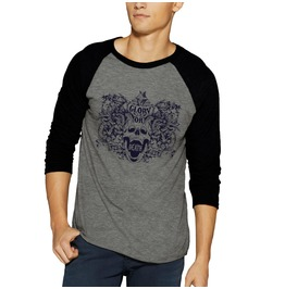 Glory Or Death Skull Raglan Baseball 3/4 Sleeve Shirt Tee Bones Gothic Emo