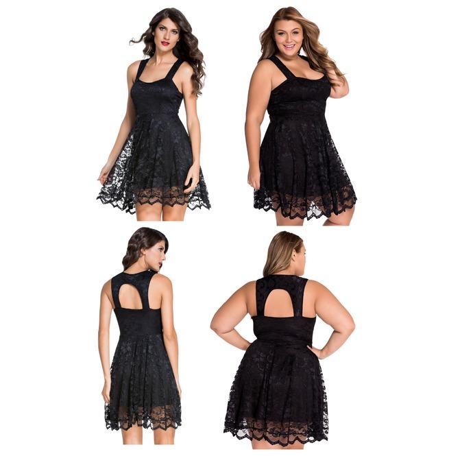 ec97c919abf Flattering Black Lace Party Skater Mini Dress M L Xl