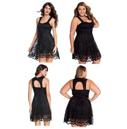 Flattering Black Lace Party Skater Mini Dress M L Xl Plus Size Gothic