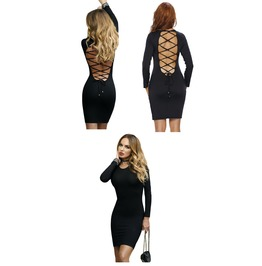 Black Lace Up Back Long Sleeve Bodycon Mini Dress