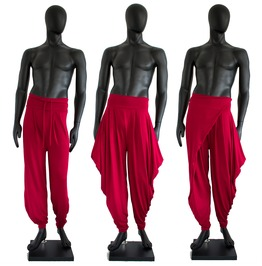 Men Workout Pants Red Harem Baggy Sweatpants