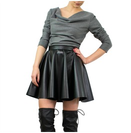 Black Leather Skirt, Leather Mini Skirt, Short Skirt, High Waist Skirt