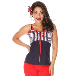 Voodoo Vixen Molly Red Sailor Top