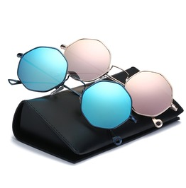 Vintage Fashion Polarized Mirror Lens Uv Protection Sunglasses Metal Frame