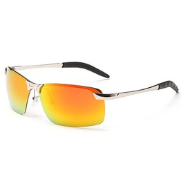 Fashion Rectangle Polarized Mirrored Lens Unisex Uv Reflective Sunglasses