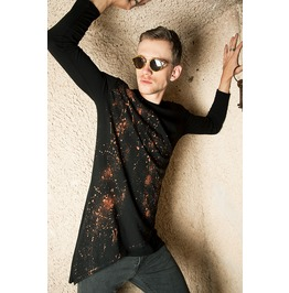 Hipster Bleach Splatter Mens Tunic Shirt In Black Organic Cotton