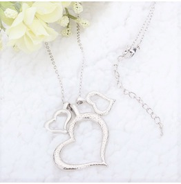Vintage Silver Plated Triple Frosted Hearts Love Pendant Chain Necklace