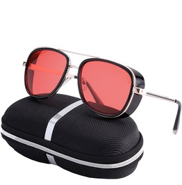 Retro Rectangle Polarized Mirrored Lens Unisex Reflective Uv Sunglasses