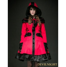 Red Woolen Lolita Coat With Hat Ly 045 Rd
