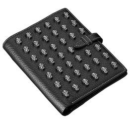 Skull Rivet Studs Bifold Black Cowhide Leather Short Vertical Wallet Men
