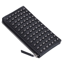 Skull Rivet Studs Black Cowhide Leather Zipper Closure Long Wallet Men