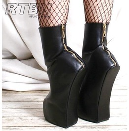 Rtbu Zeus Heelless Horse Hoof Sole Fetish Ankle Boot Gold Metal Zip