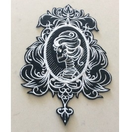 Embroidered Black/White Skull Cameo Sew/Iron On Patch 2 Sizes Available