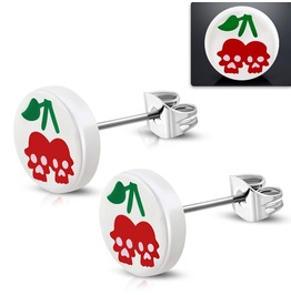 10mm Stainless Steel Stud White Acrylic Double Cherry Skull Pair
