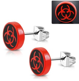 10mm Stainless Steel Stud Red Acrylic Biohazard Symbol Round Earrings Pair