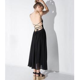 Women's Sexy Black Long Slip Evening Chiffon Dress Spaghetti Strap Prom