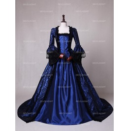 Blue Masked Ball Gothic Victorian Costume Dress N 00239
