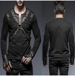 Men Gothic Long Sleeve T Shirt Black Lacing Shoulder Shirt For Men Slim Fit
