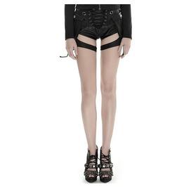 Punk Rave Women's Vintage Bunker Bomber Faux Leather Shorts K252