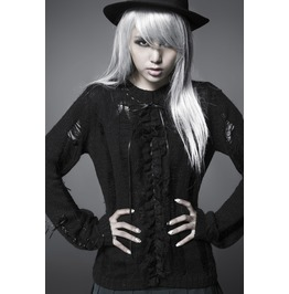 Punk Rave Women's Fashion Distressed Ruched Sweater Pm003