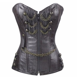 Steampunk Chains Buttons Coffee Steel Boned Waist Cincher Underbust Corset