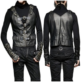 Men Gothic Vest Steampunk Winter Military Jacket Gilets Waistcoat Leather V