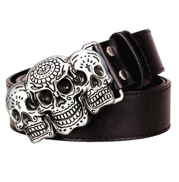 Sugar Skull Day Of The Dead Pu Leather Punk Rock Metal Buckle Belt