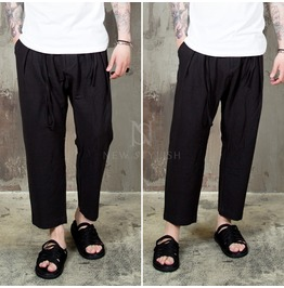 Black Linen Pleated Baggy Pants 151