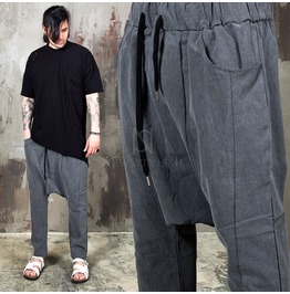 Incision Line Linen Baggy Banding Pants 150