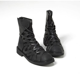 Mesh Layered Zigzag Pattern Leather High Top Boots 368