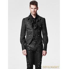Black Gothic Swallow Tail Vest For Men Y 600