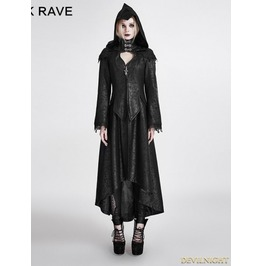 Black Gothic Dark Angle Long Hooded Coat For Women Y 676
