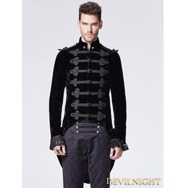 Black Gothic Victorian Swallow Tail Jacket For Men Y 593