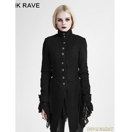 Black Woolen Lace Stitching Gothic Coat For Women Y 682