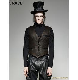 Brown Vintage Pu Steampunk Waistcoat For Men Y 718 Mbr