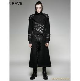 Black Gothic Military Uniform Woolen Long To Short Coat For Men Y 708