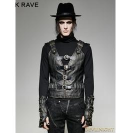 Black Pu Leather Army Uniform Style Steampunk Vest For Men Y 724