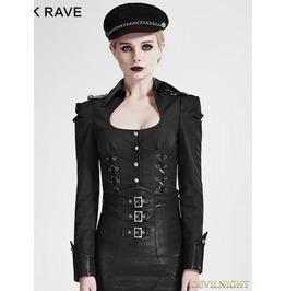 Black Gothic Military Uniform Shirts For Women Y 685