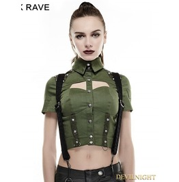 Green Sexy Military Uniform Short Shirts For Women Y 666 Gr