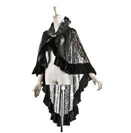 Punk Rave Women's Sexy Sheer Long Black Velvet Cloak/Skirt Q167